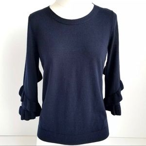 Talbots Navy Merino Wool Ruffle Sweater